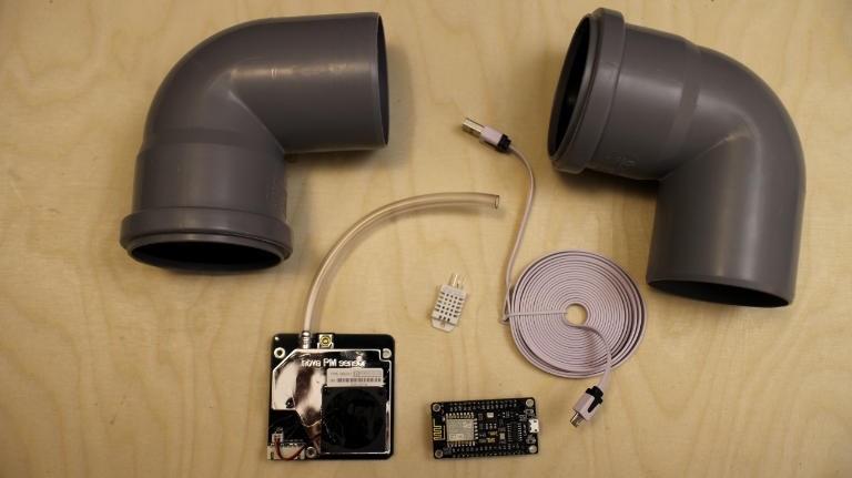 Die einzelnen Bauteile für den DIY-Feinstaubsensor
