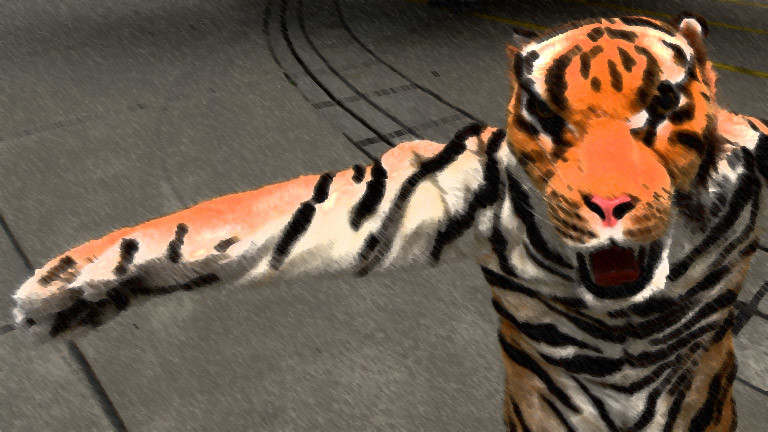 Ein Mensch im Tigerkostüm