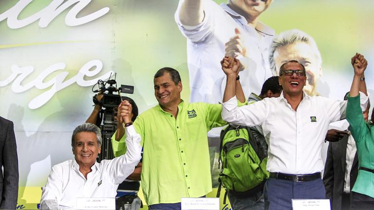 Präsidentschaftskandidat Lenin Moreno (l.), der ecuadorianische Präsident Rafael Correa (m.) und Jorge Glas (r.)