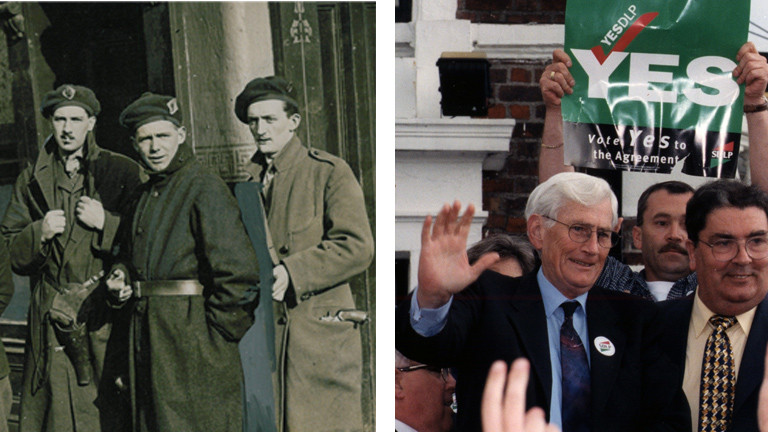 Gruppe von Männern in Uniformen mit Waffen zur Zeit des Anglo-irischen Vertrags / Der Vorsitzende der katholischen Sozialdemokraten SDLP, John Hume (r) und der Abgeordnete Seamus Mallon (l) zeigen sich am 23..5.1998 in Belfast, nachdem der Friedensplan für Nordirland von den Menschen auf der irischen Insel mit großer Mehrheit gebilligt worden ist.