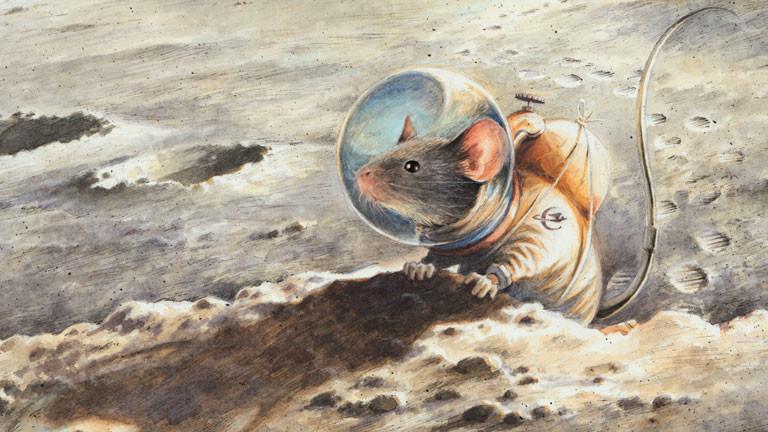 Zeichnung einer Maus im Raumanzug auf dem Mond von Torben Kuhlmann