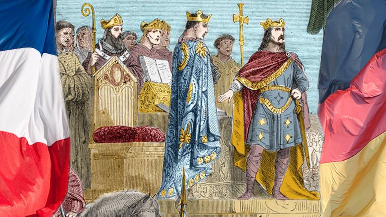 Die Unterzeichnung der Straßburger Eide am 14. Februar 842