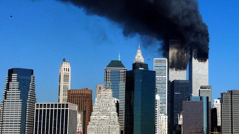 Brennende Türme des World Trade Centers.