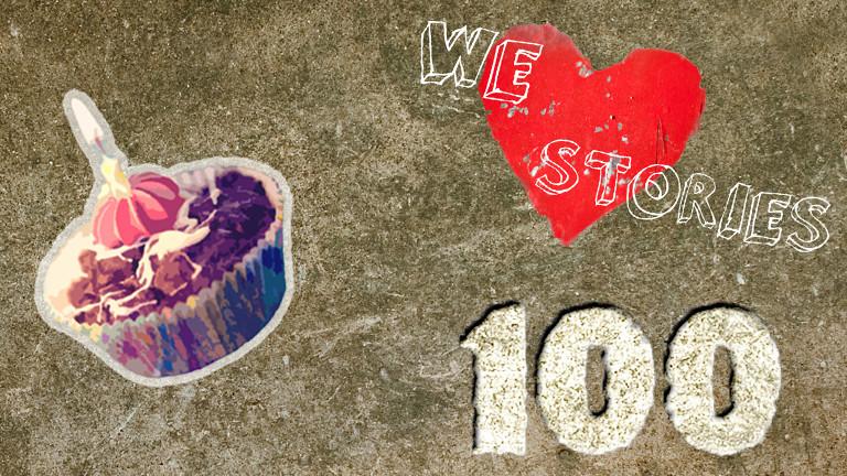 Grafik mit Törtchen, 100 und dem Schriftzug: Wir lieben Geschichten.