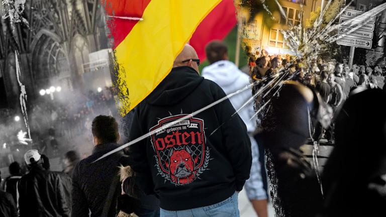 Collage: Silvesternach 2015 Köln, rechte Flaggenträger, Polizei