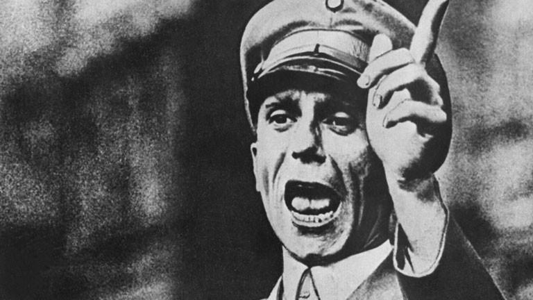 Joseph Goebbels während einer Rede.