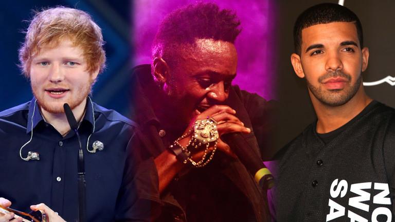 Die Musiker Ed Sheeran, Delvin Mudigi Savara und Drake.