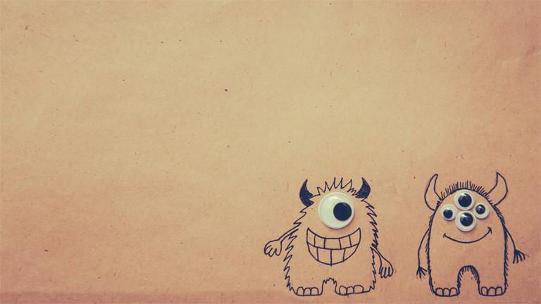 Zwei Monsterchens mit Augen.