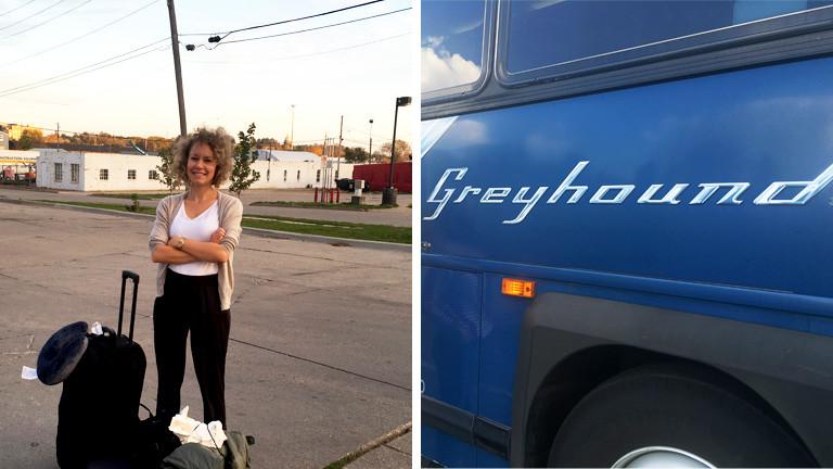 Collage: Hanna Ender mit Reisegepäck, daneben ein Greyhound-Bus
