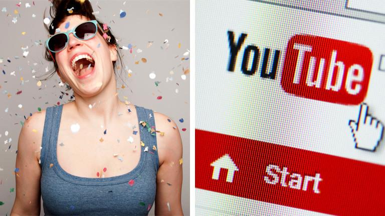 Collage: eine jubelnde Frau, daneben das Youtube Logo