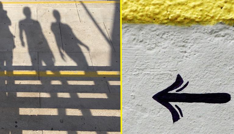 Menschliche Schatten und Taxischriftzug