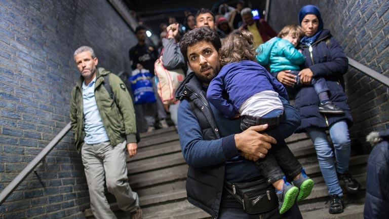 Ankunft von Flüchtlingen