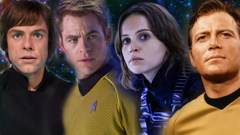 Verschiedene Charaktere aus Star Trek und Star Wars.