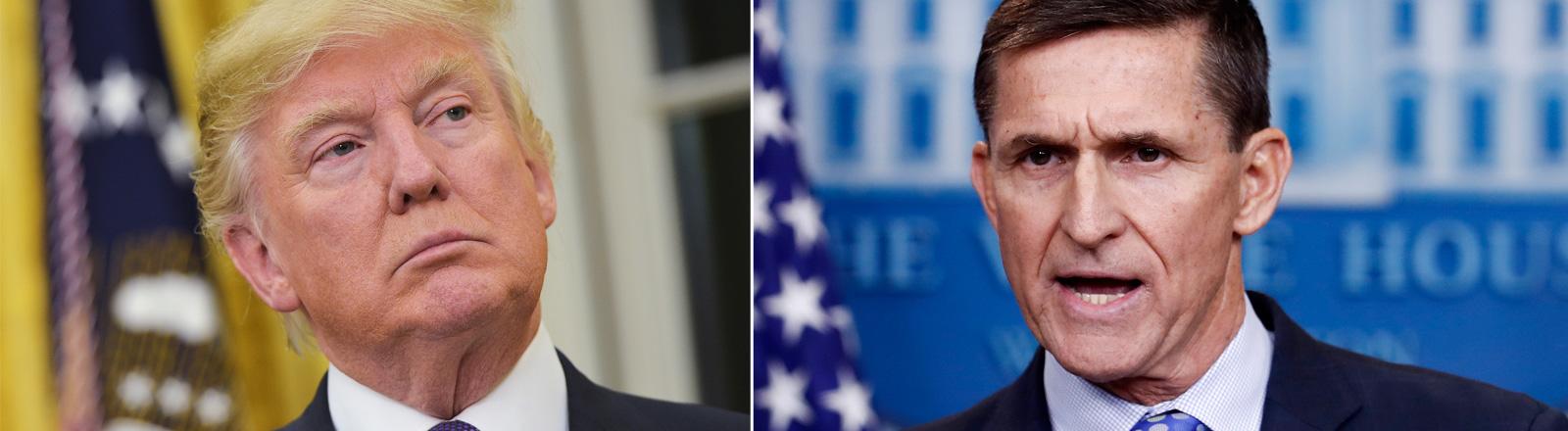 US-Präsident Trump und sein zurückgetretener Sicherheitsberater Flynn
