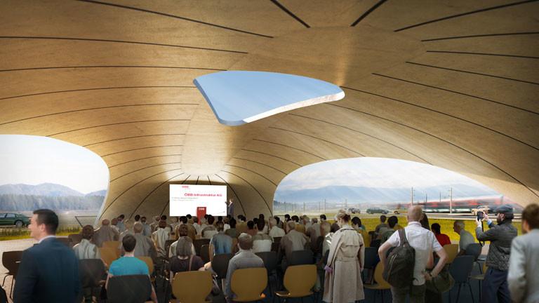 Visualisierung der fertiggestellten Veranstaltungsüberdachung