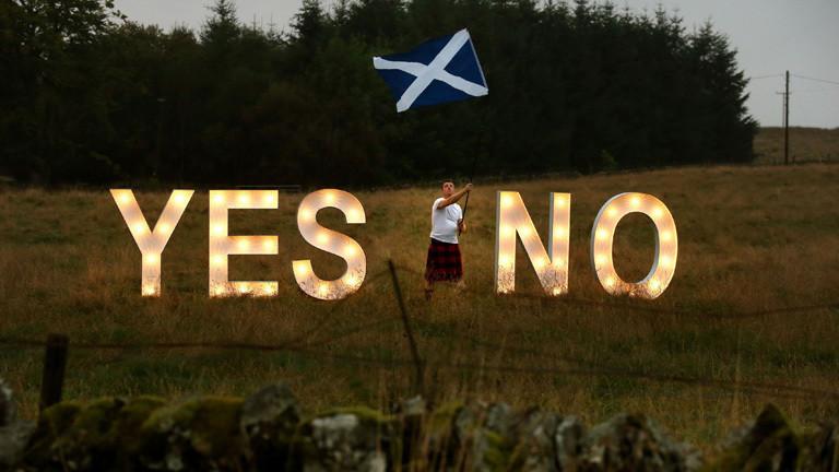 Schotte demonstriert vor dem Unabhängigkeitsreferendum 2014