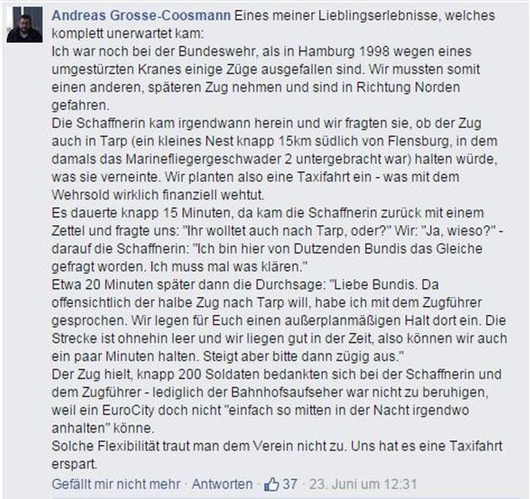 Andreas Grosse-Coosmann über den außerplanmäßigen Halt in Tarp.