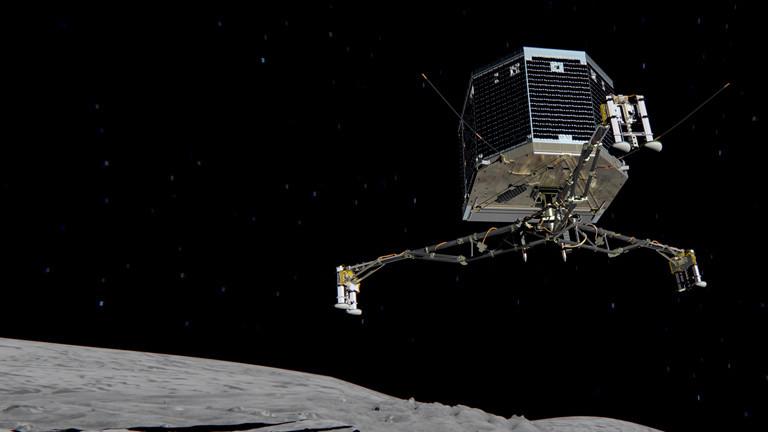 Eine Animation der Raumsonde Philae