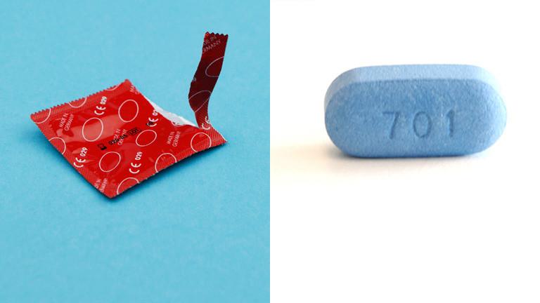 Collage: HIV-Medikament Truvada, aufgerissen Kondompackung