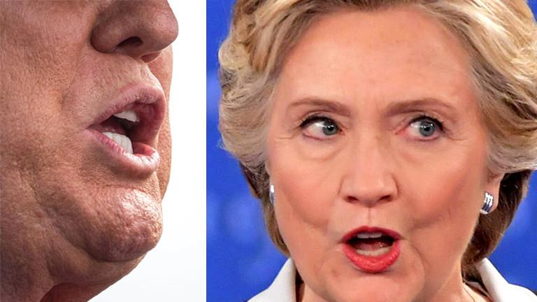 Collage: Mund von Donald Trump. Porträt Hillary Clinton