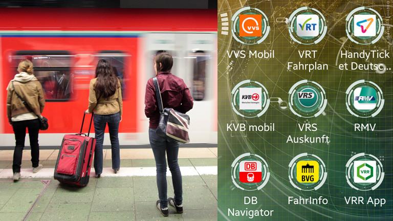 Wartende Menschen vor einer Bahn und Reise-Apps auf einem Display