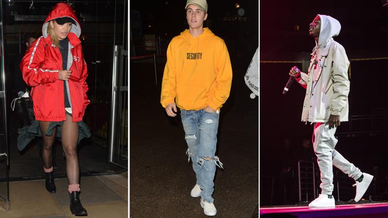 Rita Ora, Justin Bieber und Joey BadAss im Hoodie.