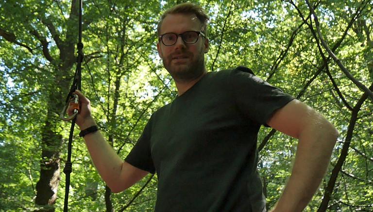 Christian bei den Baumbesetzern
