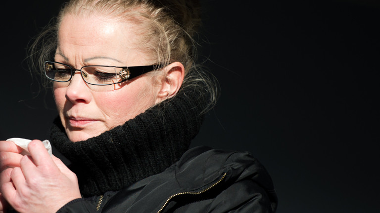 Die Pegida-Mitbegründerin Kathrin Oertel nimmt am 08.02.2015 an einer Kundgebung des neuen Vereins