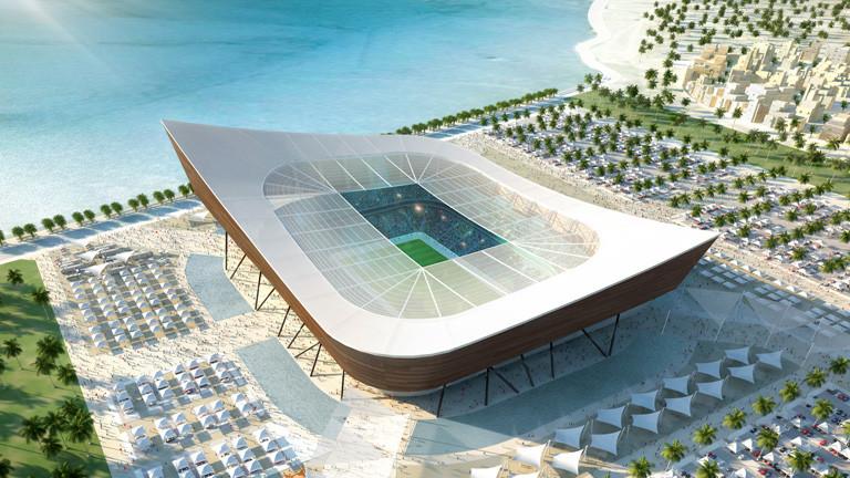 Das Computerbild zeigt das Stadion Al Shamal in Katar, dort findet 2022 die Fußball-Weltmeisterschaft statt.