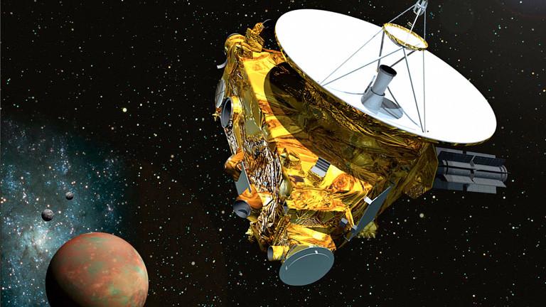 Eine Grafik zeigt die Sonde New Horizons, im Hintergrund der Zwergplanet Pluto; Bild: dpa