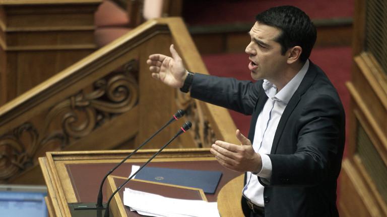 Alexis Tsipras bei einer Rede im griechischen Parlament