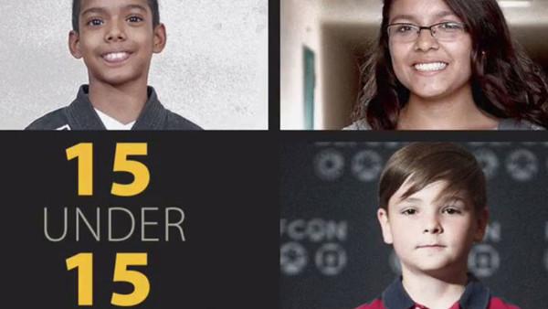 """Screenshot zeigt Fotos von drei Jungs und Mädchen. Auf einer schwarzen Tafel steht in gelb """"15 under 15"""""""