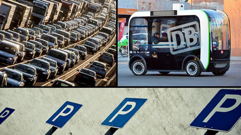 Verkehrsstau, ein selbstfahrender Kleinbus und Parkplatzschilder