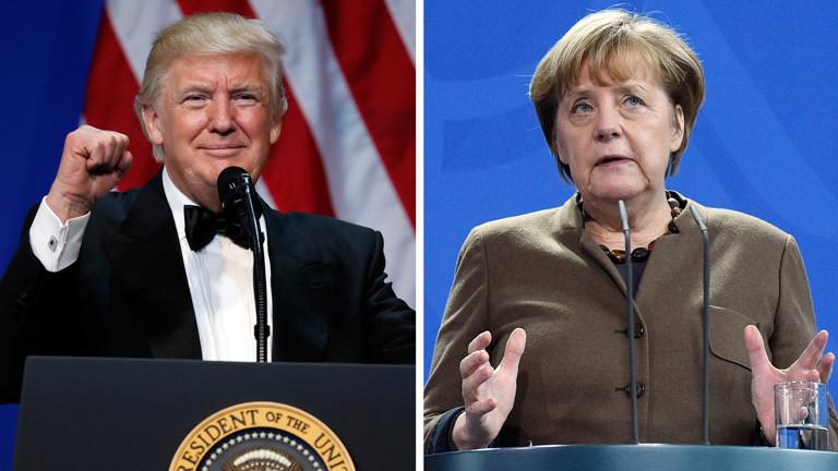 Foto von Donald Trump und Angela Merkel
